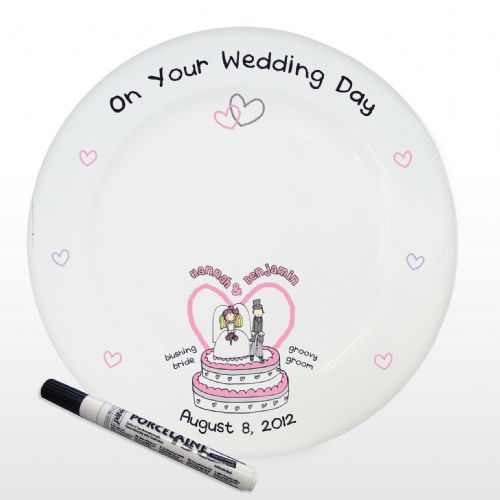 Personalised Bang On The Door Wedding Message Plate with Pen